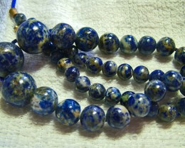 264 cts LAPIS NATURAL BEAD STRAND  BI-COLOUR12 INCHES 264 CTS -NP 73