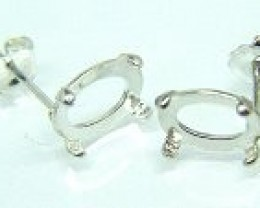 Sterling Silver 8x6 Oval Cab-tite Earring Setting