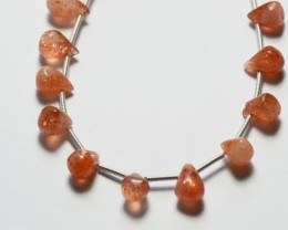 NEW ITEM  28 SUNSTONE drop shape briolettes 7-9mm