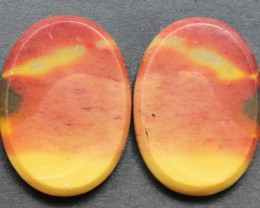 33.70 CTS MOOKAITE JASPER CABOCHON PAIR PERFECT FOR EARRINGS