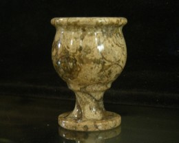 280 CTS FOSSIL STONE CARVED SCHNAP CUP   11025