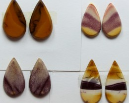 25.00 CTS -  4 SETS OF MOOKAITE JASPER  PAIR PARCEL DEAL