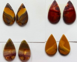 35.50 CTS -  4 SETS OF MOOKAITE JASPER  PAIR PARCEL DEAL