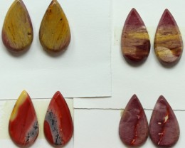 30.00 CTS -  4 SETS OF MOOKAITE JASPER  PAIR PARCEL DEAL