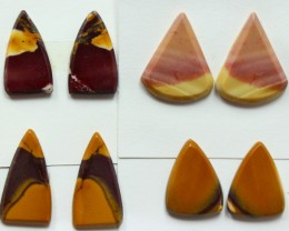 39.55 CTS -  4 SETS OF MOOKAITE JASPER  PAIR PARCEL DEAL