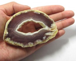 267CTS POLISHED BRAZILIAN WITH DRUZY AGATE SLICE  MS1371
