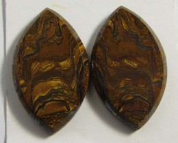 24 CTS PAIR   BRIGHT VEINED TIGER EYE GG 83