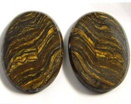 69 CTS  PAIR  BRIGHT VEINED TIGER EYE GG 84