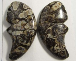37CTS   NATURALFOSSIL  AGATES GEMSTONE PAIR  GG95