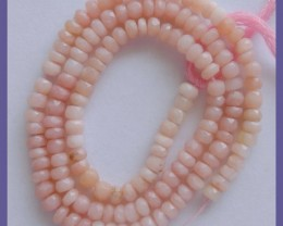 AAA 4-4.50MM PINK PERU OPAL FACETED ROUNDEL BEADS