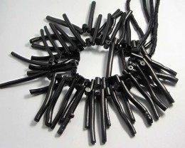 225 CTS TWO BLACK  CORAL BEAD STRANDS  40 CM LENGTH  GG 183