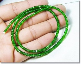 100% Natural Russia Chrome Diopside Faceted Beads J61