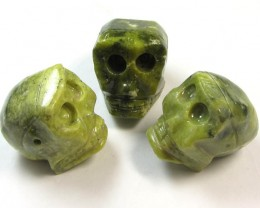 350 CTS  THREE JASPER   SKULL CARVING AGR 370