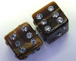 TIGER EYE DICE CZ STUDDED  STONE  62.2 CTS AS-A9013
