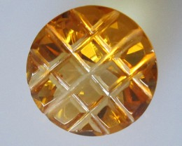 6.55cts Golden Yellow Citrine Checker Board Round Cut