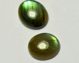 Pair of 12mm labadorite oval cabochon by 5/5.5mm deep