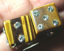 TIGER EYE DICE CZ STUDDED 62.2 CTS AS-A9015