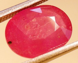 CERT 3.42 CTS FACETED RASPBERRY RED RUBY  11 1045