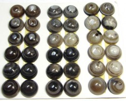 180 CTS PARCEL 18 PAIRS   AGATE 10MM BUTTONS  MS 1551