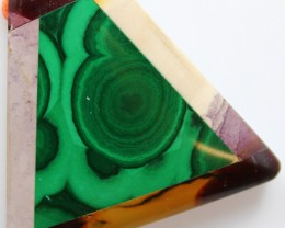 112.10 CTS INTARSIA MALACHITE EYE LIKE RINGS MOOKAITE SIDES