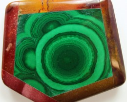 144.20 CTS INTARSIA MALACHITE EYE LIKE RINGS MOOKAITE SIDES