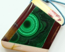 64.45 CTS INTARSIA MALACHITE EYE LIKE RINGS MOOKAITE SIDES