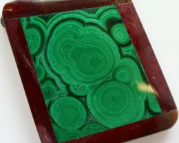 99.45 CTS INTARSIA MALACHITE EYE LIKE RINGS MOOKAITE SIDES