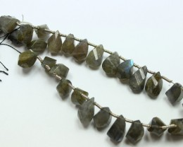 156 CTS LABRADORITE STRAND OF BEADS 27 PIECES NATURAL