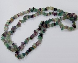 "81g / 34"" FLUORITE Chip Beads Necklace"