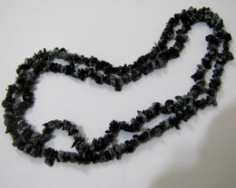 "37g / 34"" SNOWFLAKE OBSIDIAN Chip Beads Necklace"