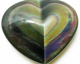 27.55 CTS  RAINBOW OBSIDIAN HEARTS -IRIDESCENCENT [MGW2509]