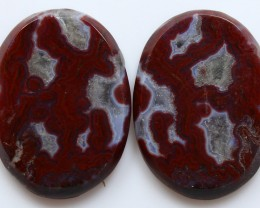 35.65 CTS PLUM AGATE PAIR PAUL BUNYAN CALIFORNIA