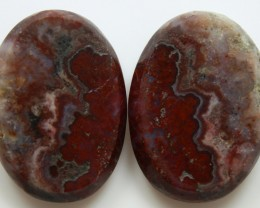 32.80 CTS PLUM AGATE PAIR PAUL BUNYAN CALIFORNIA AREA
