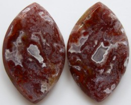 28.95 CTS PLUM AGATE PAIR PAUL BUNYAN CALIFORNIA AREA