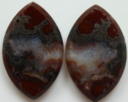 28.90 CTS PLUM AGATE PAIR PAUL BUNYAN CALIFORNIA AREA