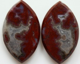 23.40 CTS PLUM AGATE PAIR PAUL BUNYAN CALIFORNIA AREA