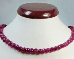 188 CTS CERT  FACETED RED RUBY BEADS 11 993