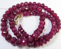 CERT 155 CTS FACETED RED RUBY BEADS 11 994