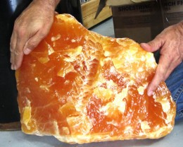 26 KILO MASSIVE  ORANGE CALCITE SPECIMEN MYGS 256