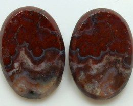 23.00 CTS PLUM AGATE PAIR PAUL BUNYAN CALIFORNIA AREA