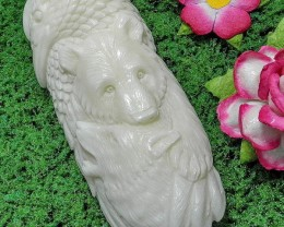 Raven, Wolf, Bear Tribal Totem, Organic Bone Cameo Carving