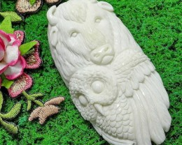 Buffalo Owl Spirit Totem,Bone Carving, NEW LOW PRICE!