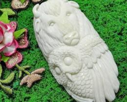 Buffalo Owl Spirit Totem,Bone Carving, NEW LOW PRICE!