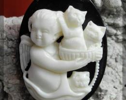 Angel With 3 Kittens, Masterwork Bone Carving, 28x40x10mm