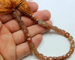 94 CTS SUNSTONE BEAD STRAND NATURAL CUBE CUT 8 INCH