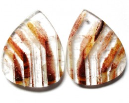 67.66 CTS   ZEBRA QUARTZ EARRINGS -DRILLED  [ST7480]