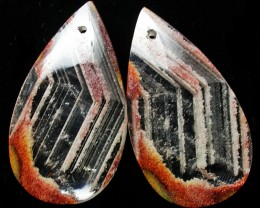 56.99 CTS   ZEBRA QUARTZ EARRINGS -DRILLED  [ST7484]