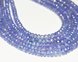 "2.5mm to 4mm TANZANITE blue faceted beads 16"" line A+ grade"