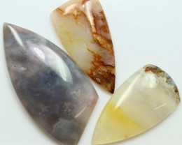 111.95 CTS  - 3 PCS AGATE POLISHED STONE PARCEL