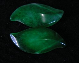EMERALD GREEN DYED ONYX LEAVES CTS  11754